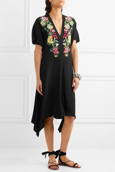 ETRO Embroidered crepe dress 3