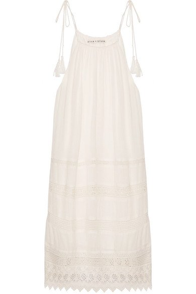 ALICE + OLIVIA Danna lovely white lace-trimmed crepon mini dress