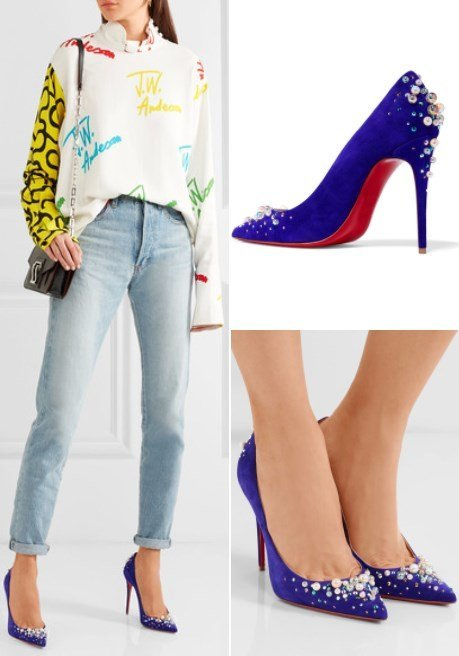CANDIDATE 100 EMBELLISHED PURPLE SUEDE PUMPS