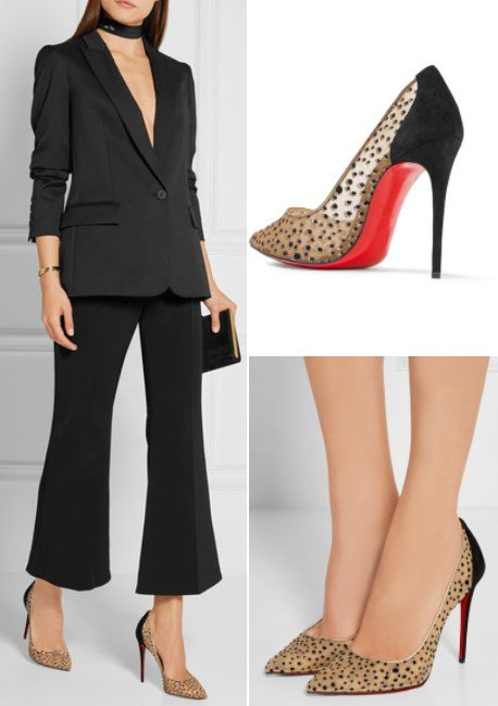 CHRISTIAN LOUBOUTIN FOLLIES LACE 100 SUEDE-TRIMMED GLITTERED MESH PUMPS