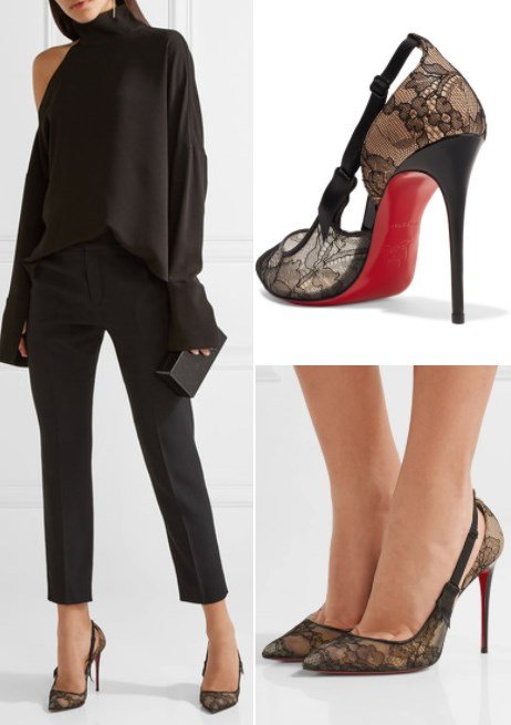 CHRISTIAN LOUBOUTIN JEANBI 100 SATIN AND PATENT LEATHER-TRIMMED LACE PUMPS