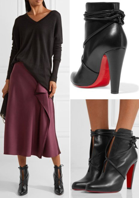 CHRISTIAN LOUBOUTIN S.I.T. RAIN 100 BLACK LEATHER ANKLE BOOTS