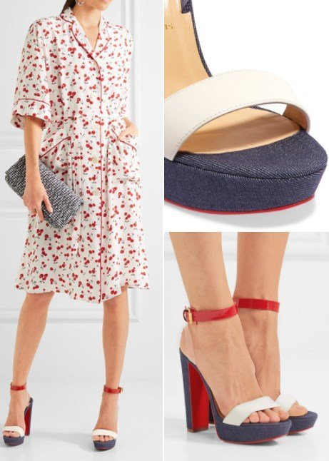CHRISTIAN LOUBOUTIN PATENT AND SMOOTH LEATHER-TRIMMED DENIM SANDALS