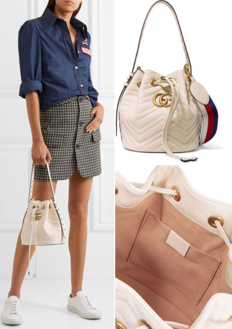 GUCCI GG MARMONT QUILTED WHITE LEATHER BUCKET BAG
