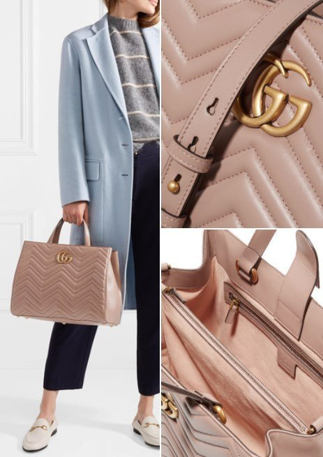 GUCCI GG MARMONT QUILTED PINK LEATHER TOTE
