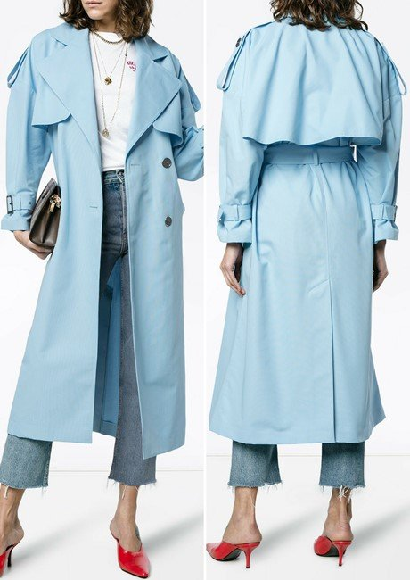 VIKA GAZINSKAYA Blue Midi Trench Coat
