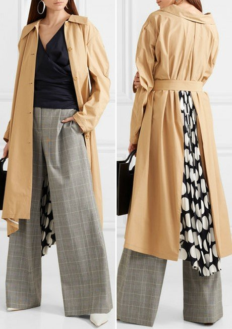 A.W.A.K.E. Polka-dot crepe de chine-paneled cotton-blend trench coat