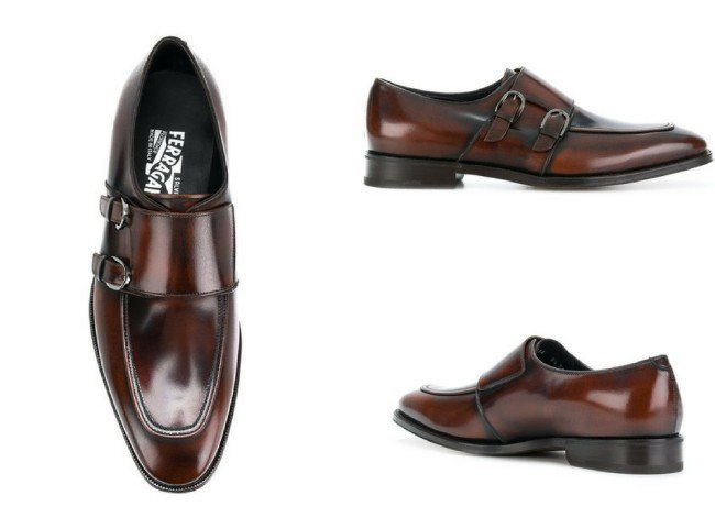 SALVATORE FERRAGAMO double monk strap shoes