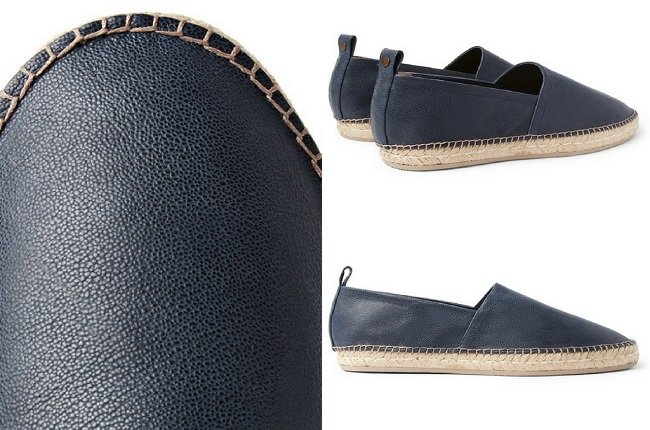 Brunello Cucinelli Pebble-Grain Leather Espadrilles