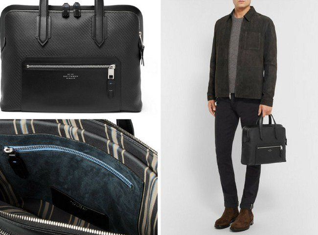 Smythson Greenwich Leather-Trimmed Lacquered-Cotton Briefcase