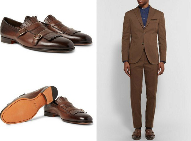 Santoni Burnished-Leather Buckled Kiltie Loafers