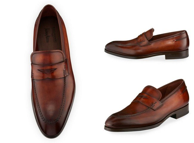 Magnanni for Neiman Marcus Smooth Leather Penny Loafer, Brown