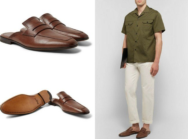 Berluti Luciano Polished-Leather Backless Penny Loafers