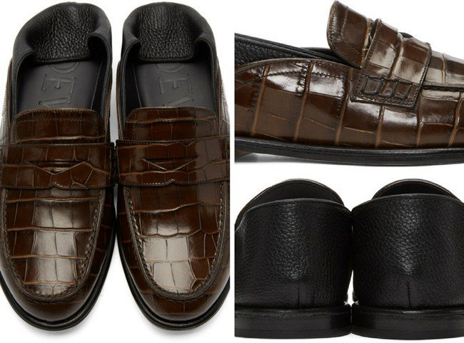 Loewe Brown Croc Convertible Loafers