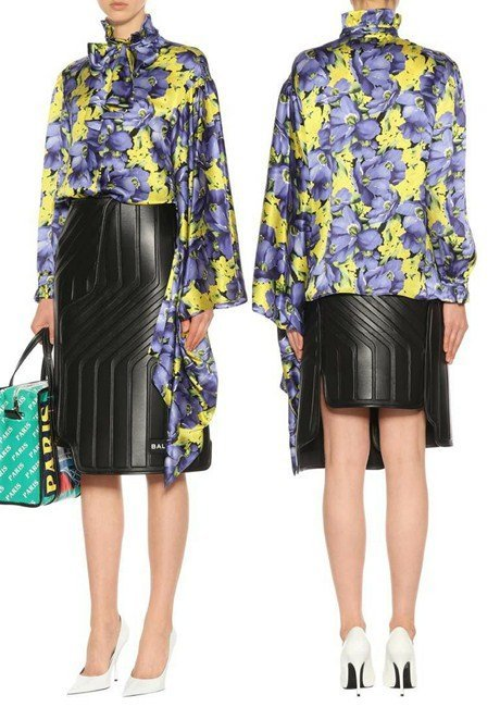 Balenciaga Printed silk satin blouse