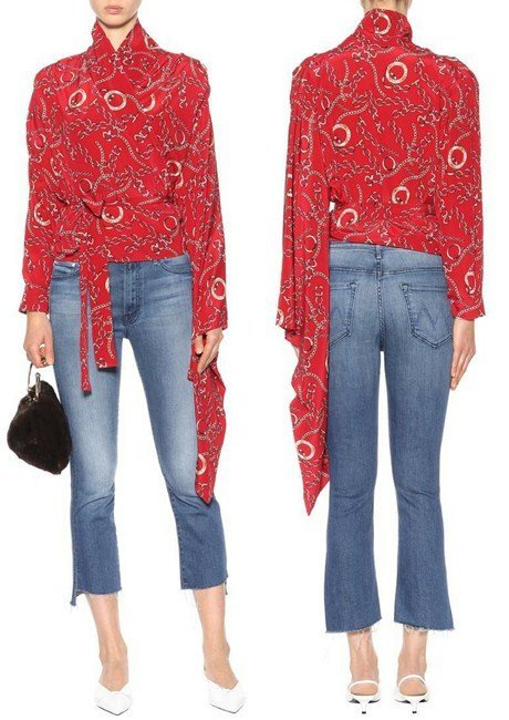 Balenciaga Printed silk wrap blouse