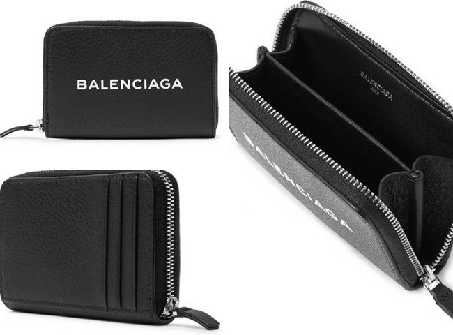 Balenciaga Printed Full-Grain Leather Zip-Around Cardholder