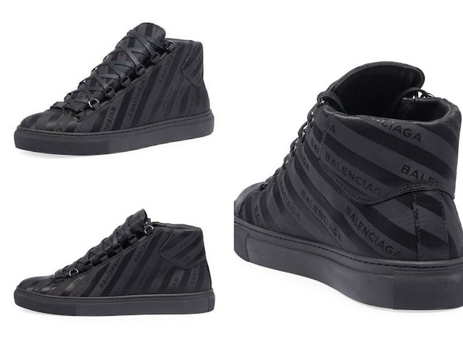 Balenciaga Men's Arena Striped Leather Mid-Top Sneaker