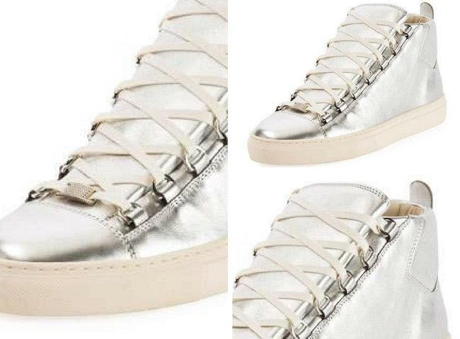 Balenciaga Men's Arena Metallic Leather High-Top Sneakers