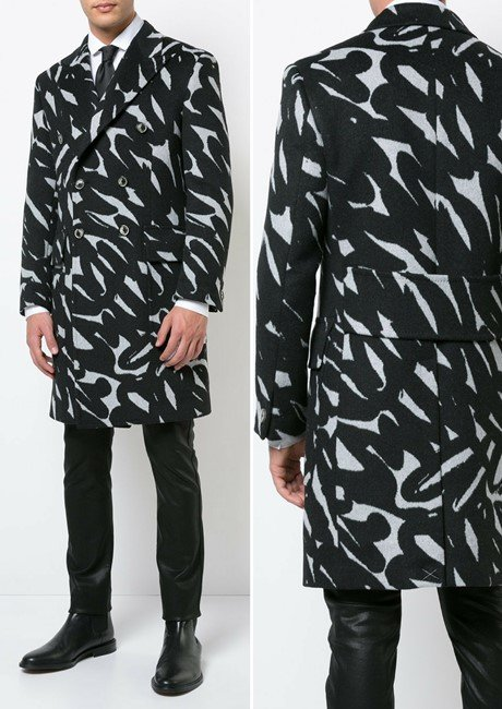 VERSACE brush stroke double-breasted coat