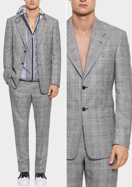 WOOL-SILK BLEND CHECKED BLAZER