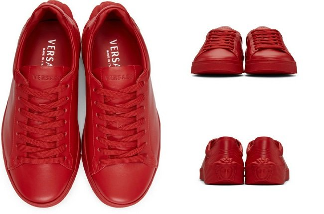 Versace Red Back Medusa Head Sneakers