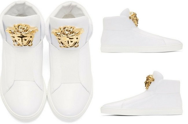 Versace White Palazzo Slip-On Sneakers