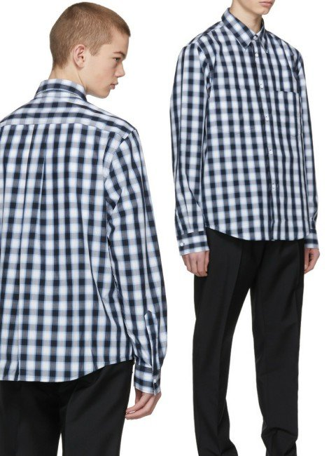 Acne Studios Navy & White Lincal Shirt