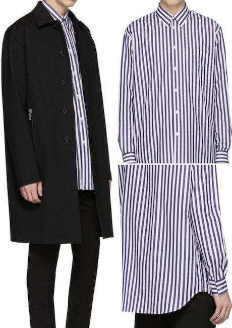 Versace White & Blue Striped Long Shirt