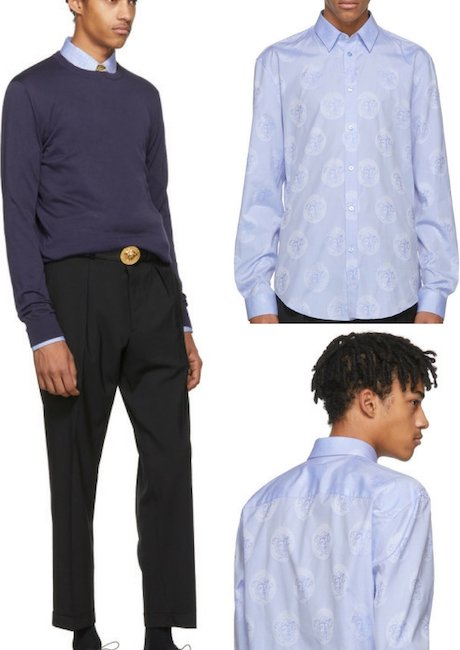 Versace Blue All Over Medusa Shirt