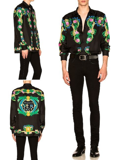 VERSACE Miami Print Long Sleeve Silk Shirt