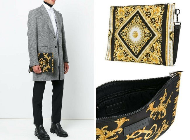 VERSACE baroque print clutch bag