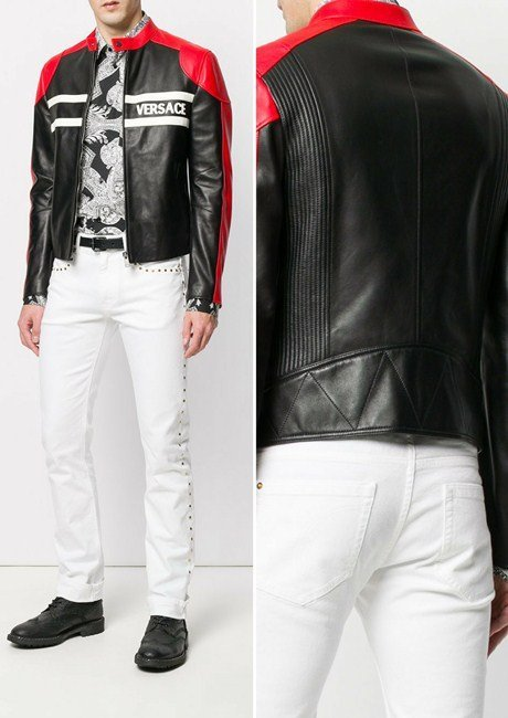 Versace fitted biker jacket