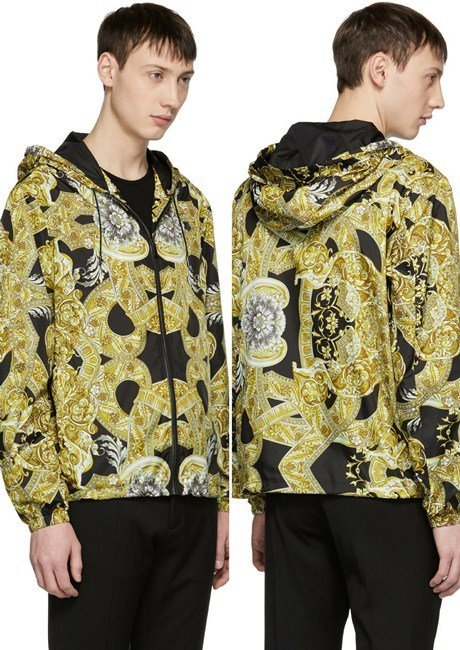 Versace Black & Tan Nylon Baroque Jacket