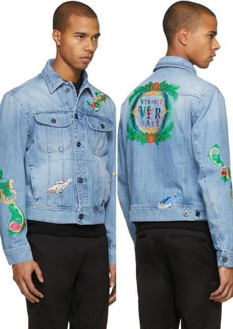 Versace Blue Embroidered Denim Jacket