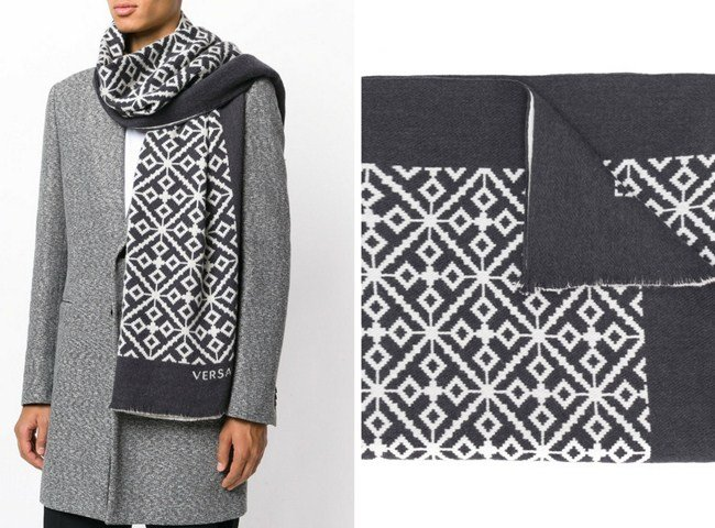 Versace patterned intarsia scarf