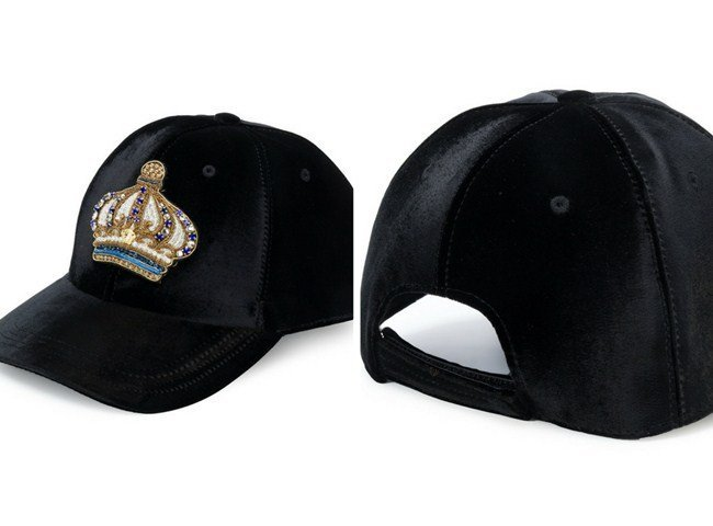 Versace crown embellished velvet baseball cap