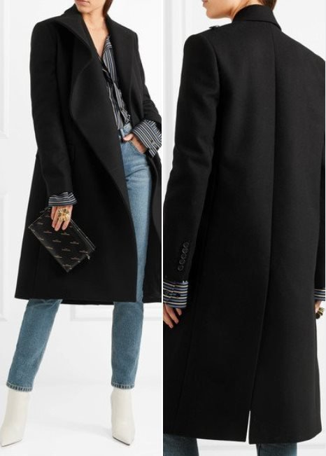 Balenciaga Asymmetric Black Wool Coat