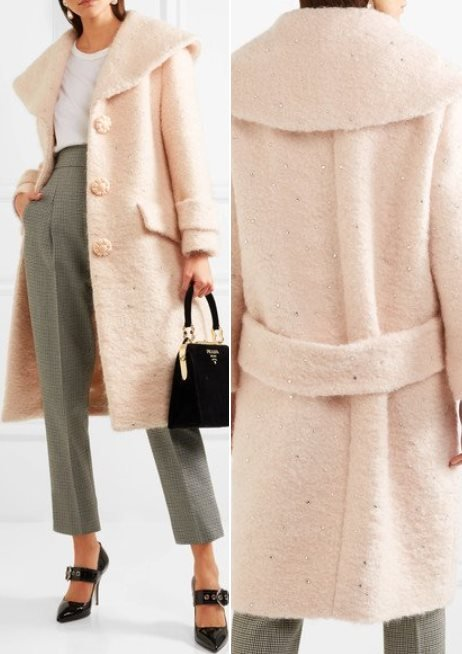 Miu Miu Crystal-Embellished Mohair Blend Coat