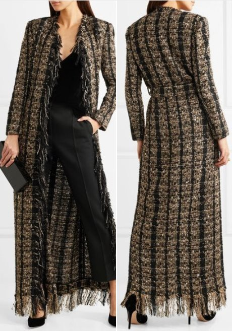 Balmain Belted Metallic Boucle Tweed Coat