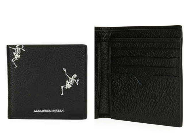 Alexander McQueen Skeleton-Print Bi-Fold Leather Wallet
