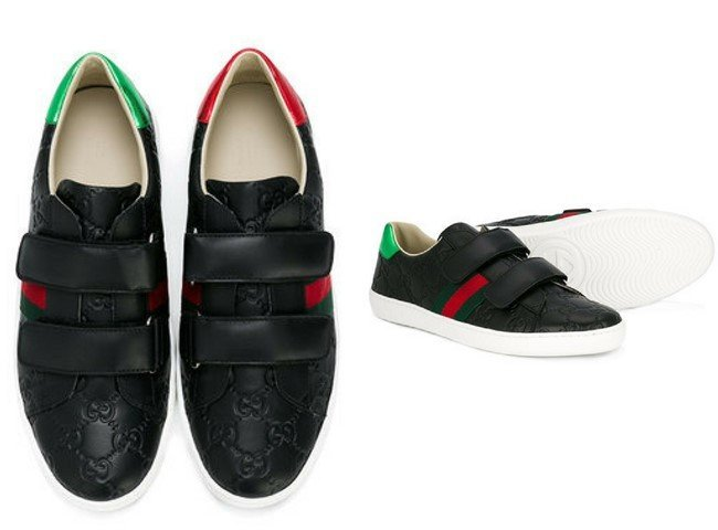 GUCCI KIDS logo touch strap sneakers