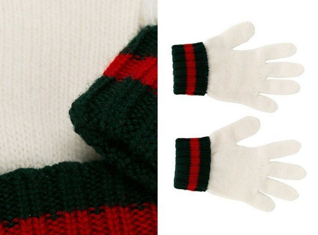 Gucci Kids gloves with signature tricolour stripes