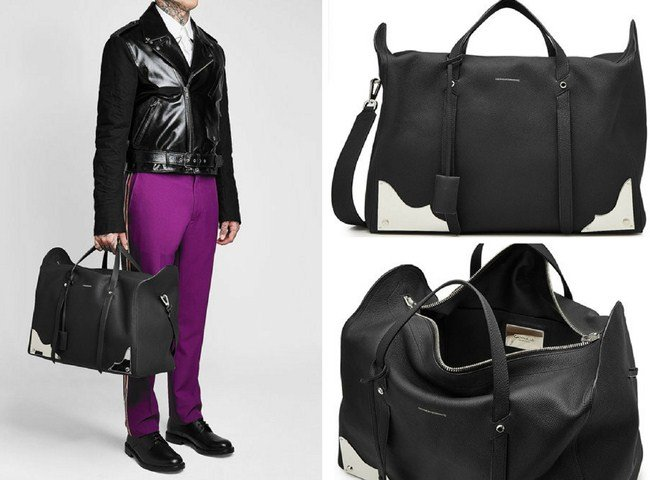 Calvin Klein Leather Duffle Bag with Metal Hardware