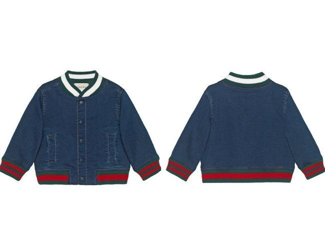 GUCCI KIDS Baby jersey denim bomber jacket with Web