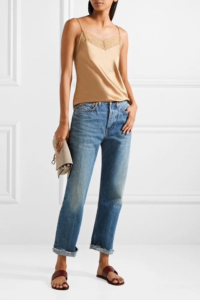 VINCE Lace-trimmed silk-satin camisole 2