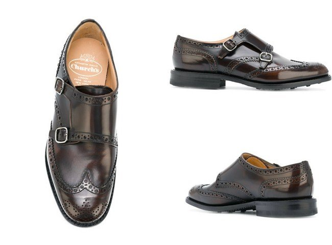Church's punch holes monk shoes