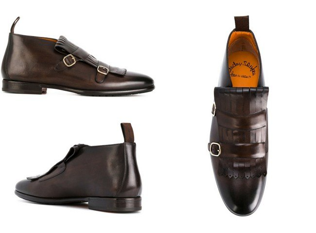 Santoni fringed detailed monk shoes