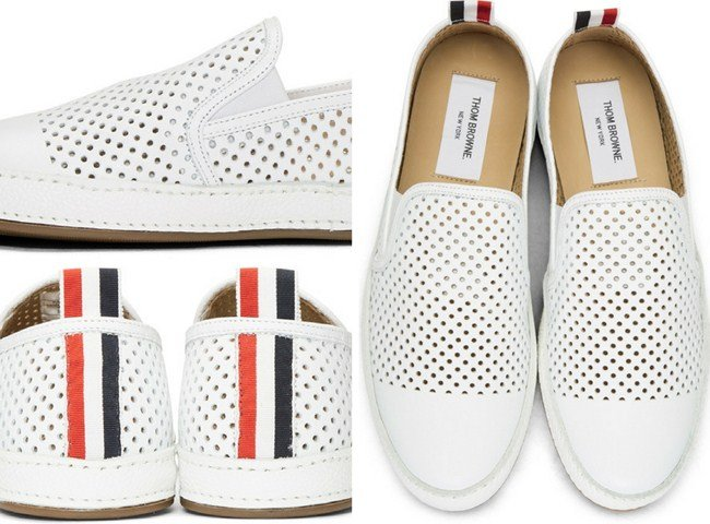 Thom Browne White Perforated Leather Espadrilles