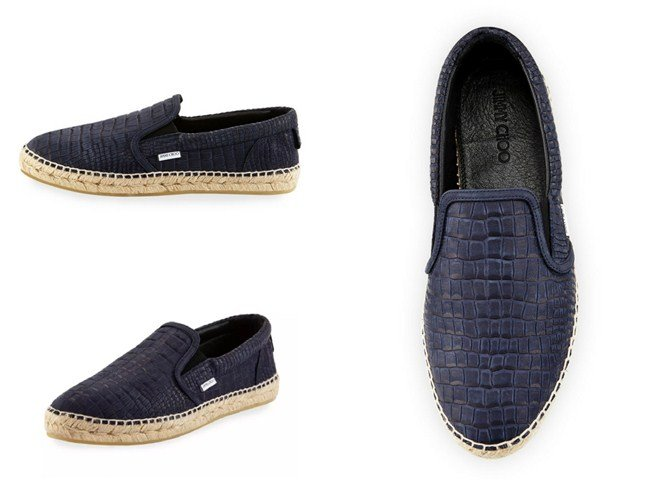 Jimmy Choo Vlad Men's Crocodile-Print Espadrille Slip-On Sneaker, Blue